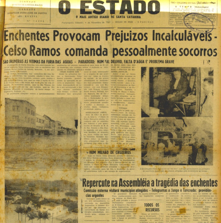 Edição do jornal O Estado de 4 de novembro de 1961 noticiou tragédia em Tijucas – Foto: O Estado/Reprodução/ND