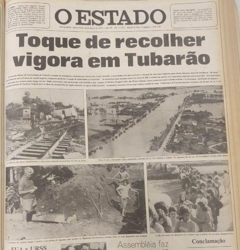 Capa do jornal O Estado de 28 de março de 1974 – Foto: BPSC/Reprodução/ND