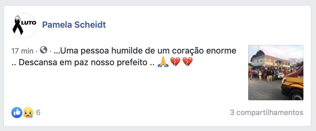 prefeito de Imbuia, João Schwambach (MDB), foi encontrado morto ao lado da prefeitura do município do Alto Vale, em Santa Catarina. - Reprodução Facebook