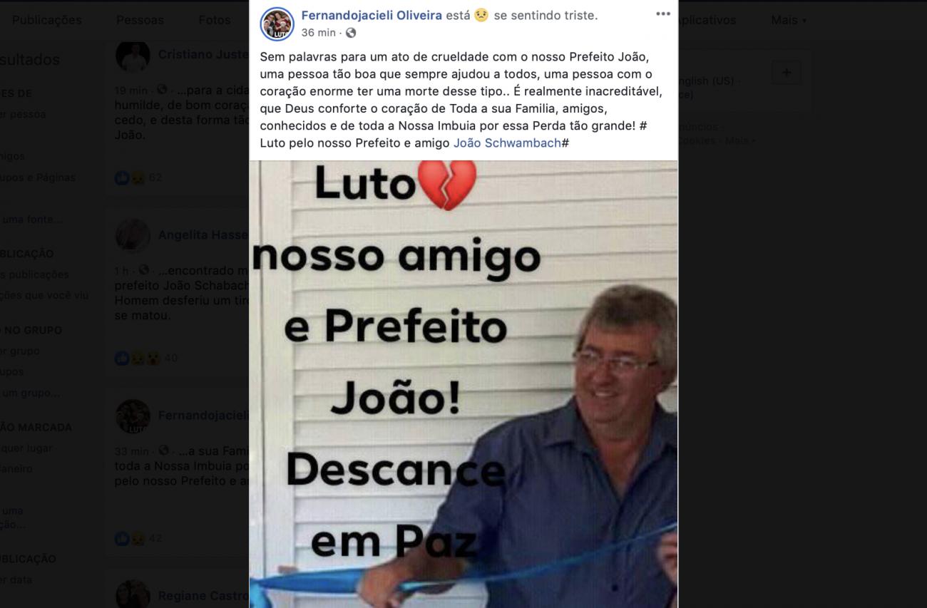João foi eleito em 2016 e era produtor de cebolas no interior do município. - Reprodução Facebook