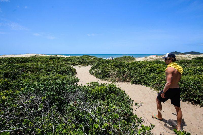 Trilha em meio à restinga dá acesso à praia no Novo Campeche - Anderson Coelho/ND
