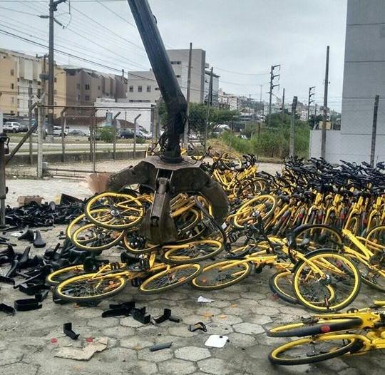 Bicicletas virarão matéria-prima para novos produtos, de acordo com a empresa responsável – Foto: Reprodução/ Redes Sociais