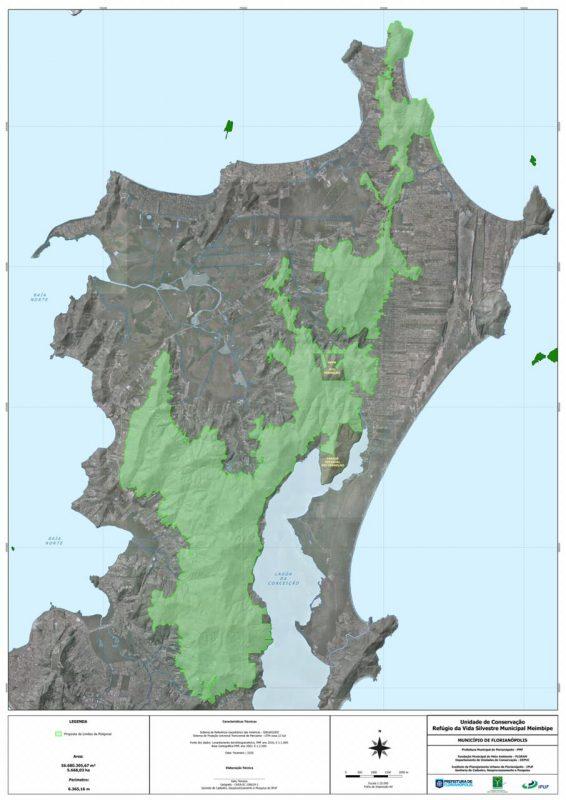 Área delimitada em verde é a proposta para a criação da Revis Meiembipe, no Norte da Ilha – Foto: Floram/PMF/Divulgação/ND