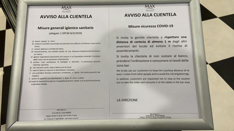 Estabelecimentos italianos possuem avisos para os clientes com as recomendações de comportamento e higiene para evitar o contágio por coronavírus – Foto: Lorena Abreu/ND
