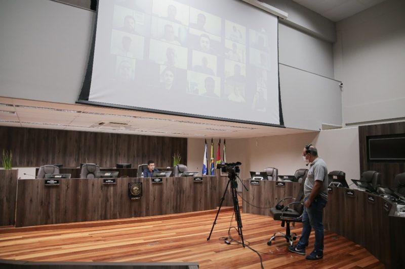 Foi a primeira vez que a Câmara de Balneário Camboriú teve sessão remota – Foto: CMBC/Divulgação/ND