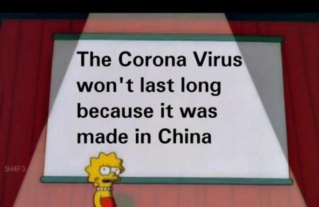 """Meme que circula pela internet diz que o coronavírus não irá durar porque """"foi feito"""" na China – Foto: Reprodução/Redes Sociais/ND"""