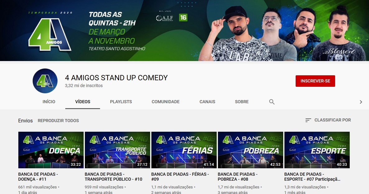 4 AMIGOS STAND UP COMEDY (https://bit.ly/2xsf4kw) - Crédito: Reprodução YouTube/33Giga/ND