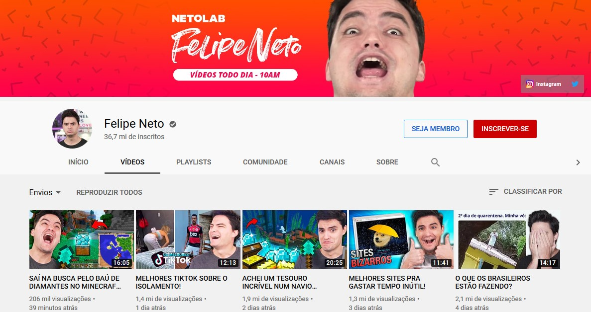 Felipe Neto www.youtube.com/felipeneto) - Credit: Play YouTube 33Giga/NA