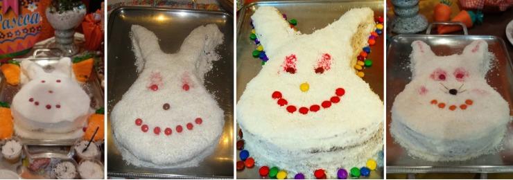 Várias versões do bolo de coelho desenvolvidas por Marilene ao longo dos 40 anos – Foto: Arquivo Familiar/ND