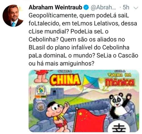 Post de Weintraub repercutiu nas redes sociais – Foto: Twitter/Reprodução
