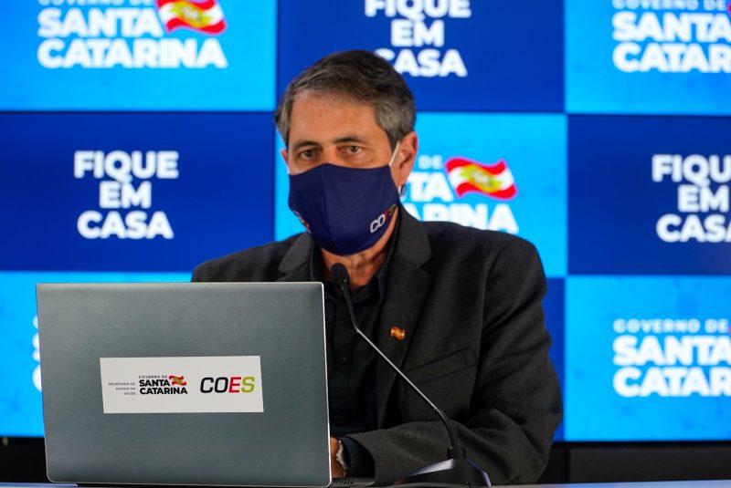 O Secretário de Estado da Saúde, André Motta Ribeiro, em pronunciamento – Foto: Divulgação/Governo do Estado de Santa Catarina/ND