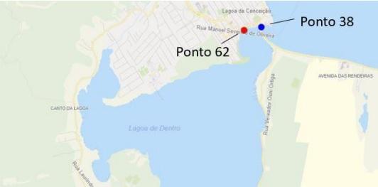 Pontos 62 e 38 na Lagoa da Conceição – Foto: Reprodução