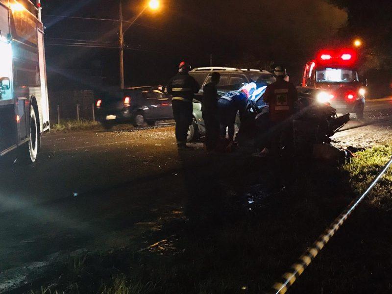 Motoristas do Sandero e da Pajero não ficaram feridos – Foto: PMRv/Divulgação/ND