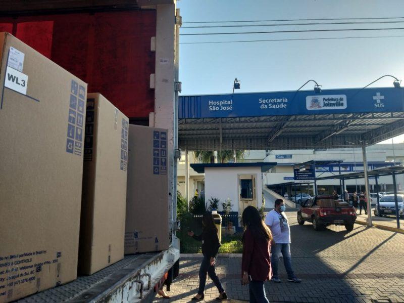 <strong>Joinville</strong>: respiradores chegaram no Hospital Municipal São José na tarde desta quarta-feira (27) &#8211; Foto: Divulgação ND
