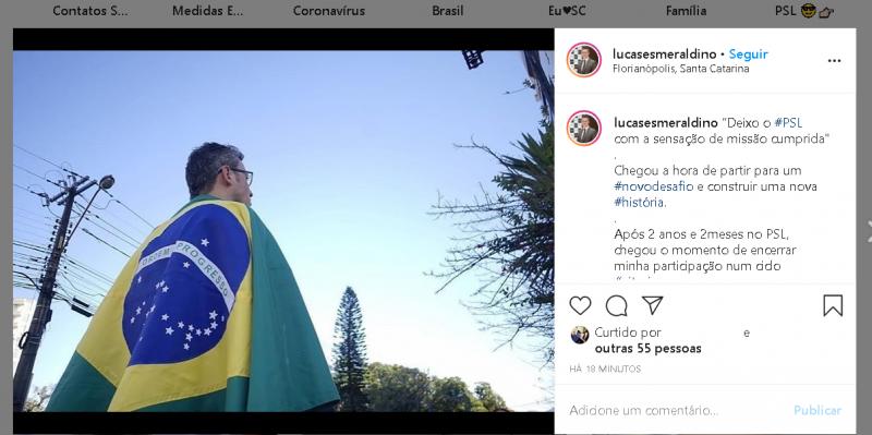 Na noite do domingo (24) Lucas Esmeraldino anunciou a saída do PSL – Foto: Instagram/Reprodução/ND