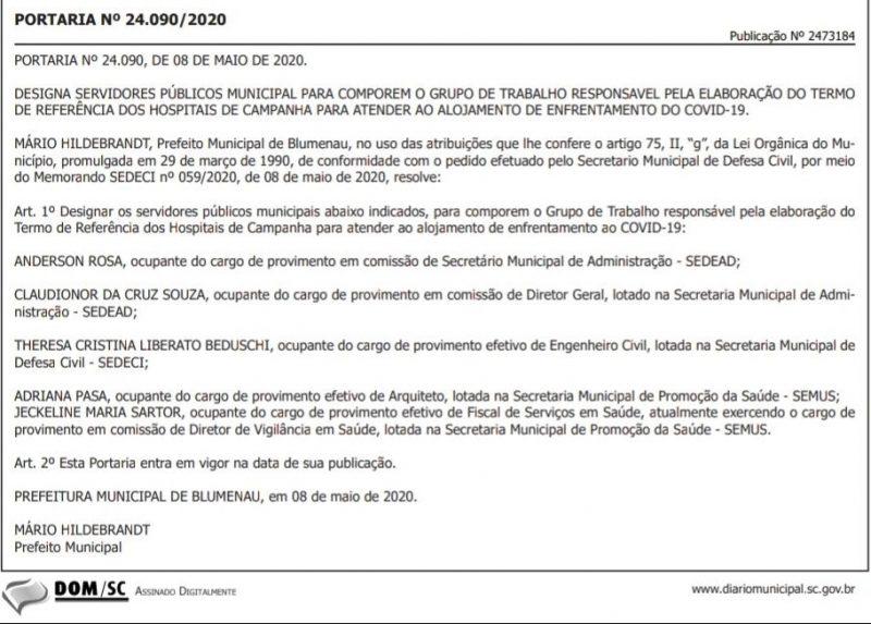 Portaria foi publicada nesta terça-feira (12) – Foto: Diário Oficial dos Municípios/Reprodução