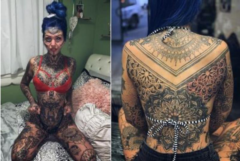 Amber Luke mostra suas tatuagens, frente e verso - Instagram