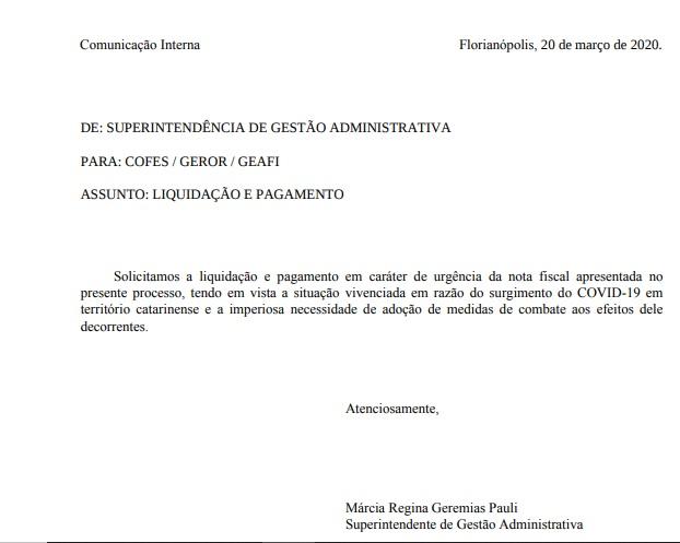 """Documento divulgado pelo deputado Ivan Naatz (PL); defesa da servidora alega """"utilização indevida"""" – Foto: Divulgação/ND"""