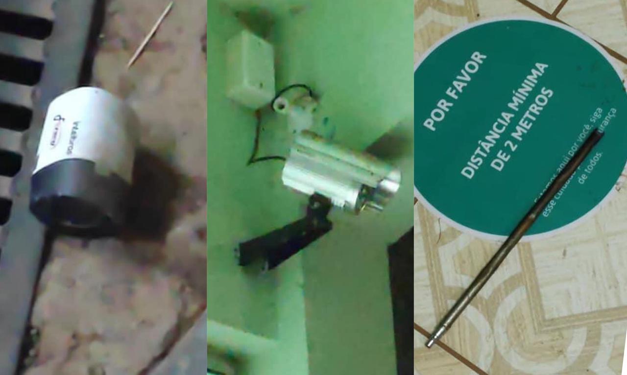 Bandidos desligaram as câmeras de monitoramento na ação; parte de um maçarico ficou no local - Polícia Militar/ND