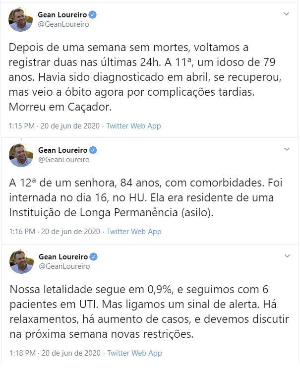 Gean Loureiro advertiu, no sábado (20), a população sobre cuidados com a Covid-19 e o impacto no transporte público – Foto: Reprodução Twitter/ND