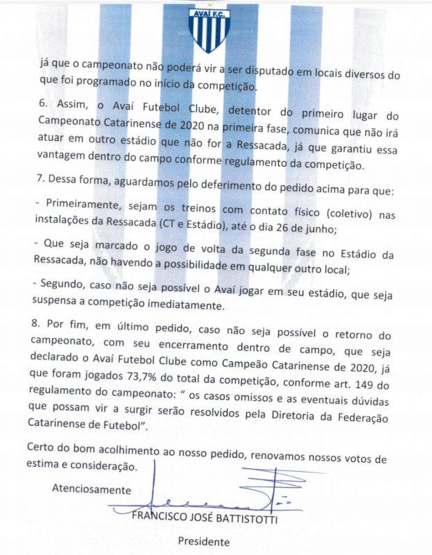 Ofício Avaí página 3 – Foto: Avaí Divulgação/ND