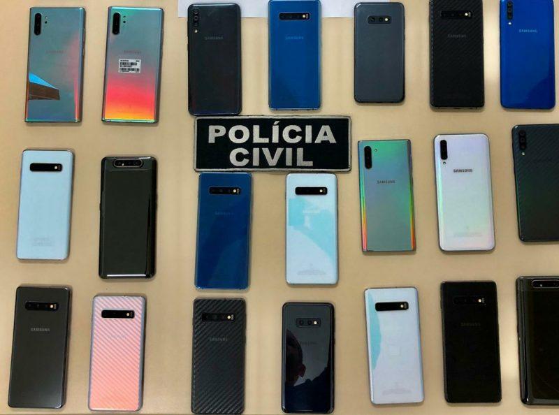 Aparelhos foram recuperados no Distrito Federal e em Goiás– Foto: Polícia Civil SC/Divulgação/ND
