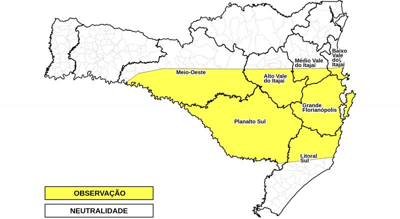 Chuvas intensas devem começar a partir de quarta-feira, na região indicada no mapa – Foto: Defesa Civil/Divulgação/ND