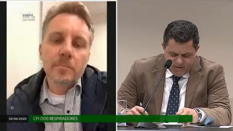 Amândio da Silva Júnior prestou depoimento na CPI dos Respiradores. Foto: Reprodução TV AL