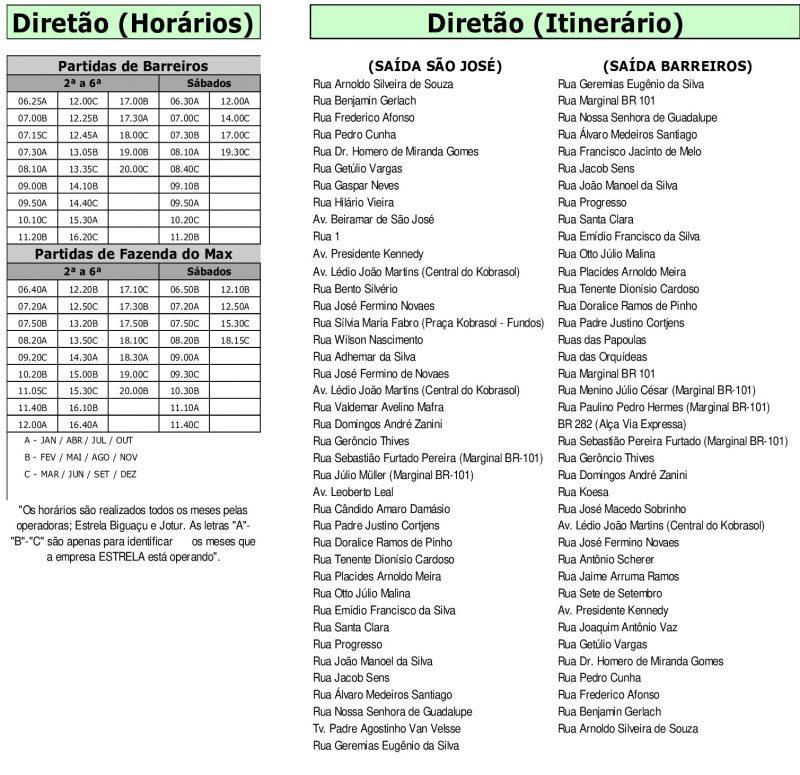 Horários da companhia Estrela Diretão – Foto: Divulgação/Setuf