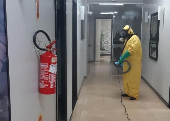 Prefeitura passou por desinfecção neste sábado – Foto: Prefeitura de Salete / Divulgação