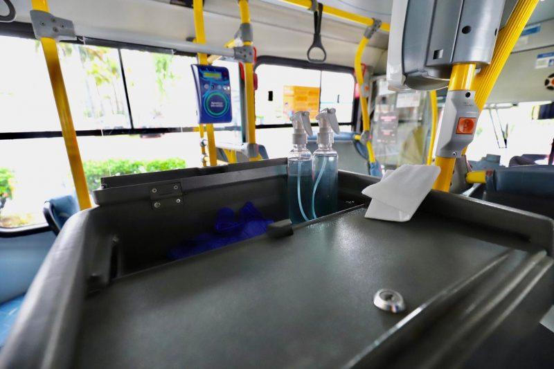 Veículos passarão por três etapas de higienização durante o dia, uma destas, nas superfícies, será realizada durante as viagens – Cristiano Andujar/Divulgação/ND