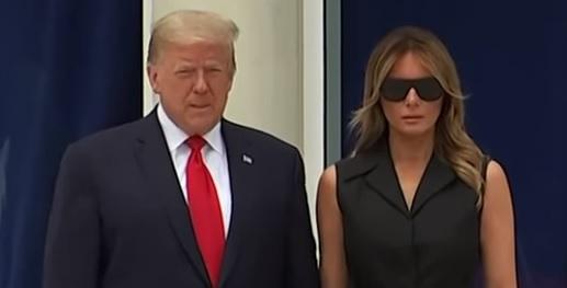 Presidente norte-americano Donald Trump e primeira-dama Melania Trump durante cerimônia nesta terça (2) – Foto: Reprodução/Youtube
