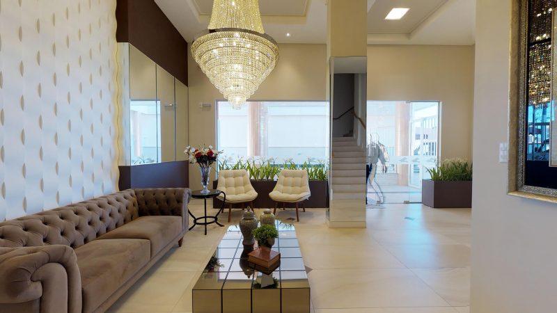Hall de entrada com decoração impecável, uma das marcas registradas da AM Construções - Foto: AM Construções/Divulgação/ND