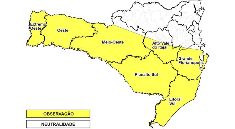 Áreas em amarelo têm alerta para temporais a partir desta quinta-feira – Foto: Defesa Civil/Divulgação