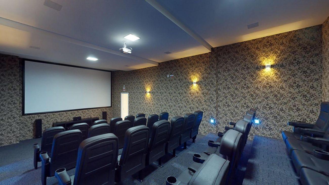 Home cinema é uma das muitas opções de lazer do Santos Dumont - AM Construções/Divulgação/ND