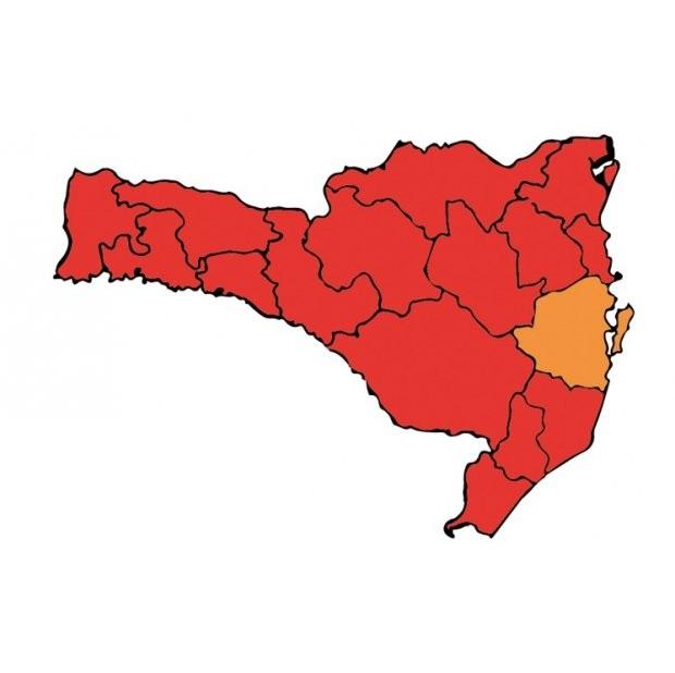 SC tem 15 das 16 regiões no nível gravíssimo