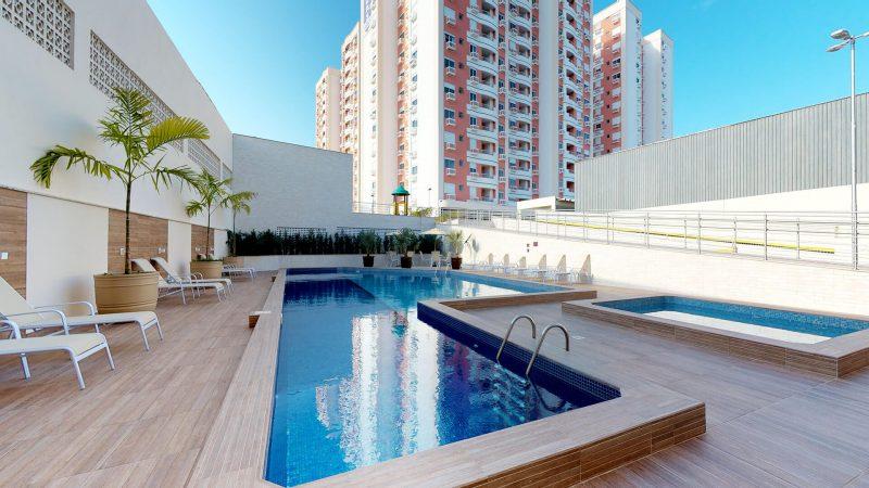 Um dos atrativos da área social: piscinas adulto e infantil – Foto: AM Construções/Divulgação/ND