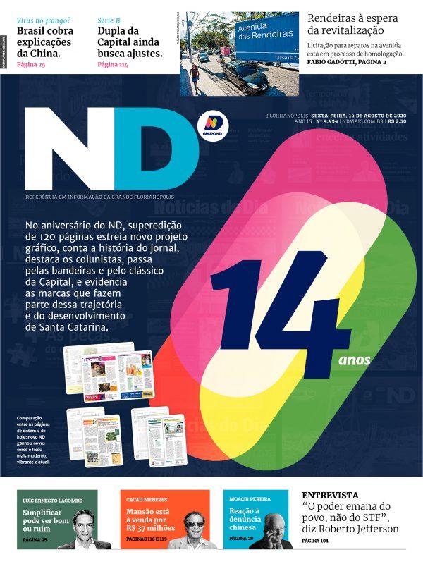 Capa do Jornal ND desta sexta-feira traz o novo projeto gráfico – Foto: Divulgação/ND