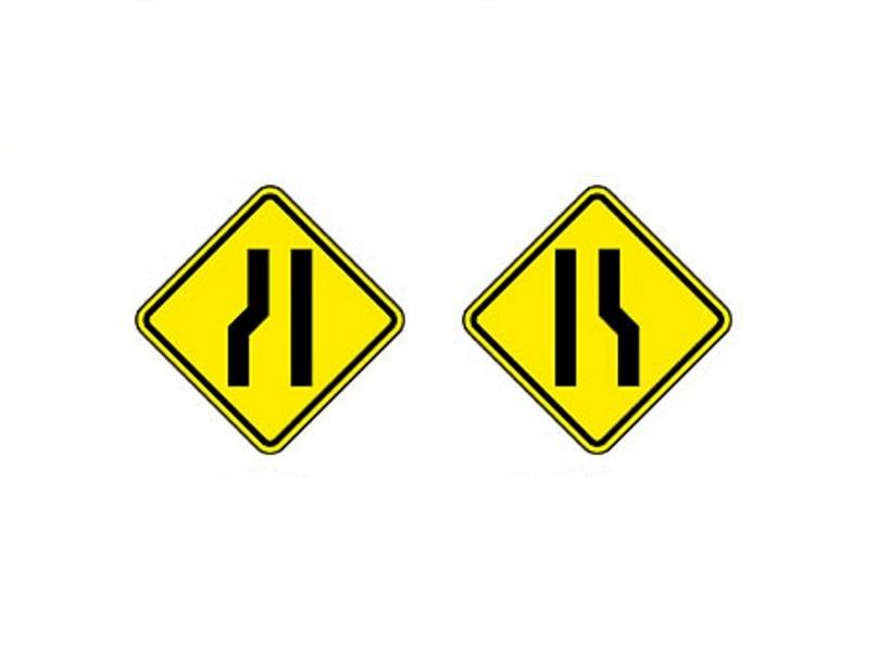 Estreitamento de pista à esquerda e Estreitamento de pista à direita - Foto: Reprodução/Garagem 360/ND