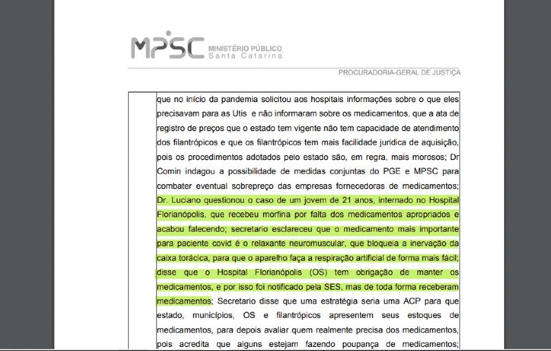 Ata da reunião realizada em 24 de julho entre MPSC e SES – Foto: Reprodução/ND
