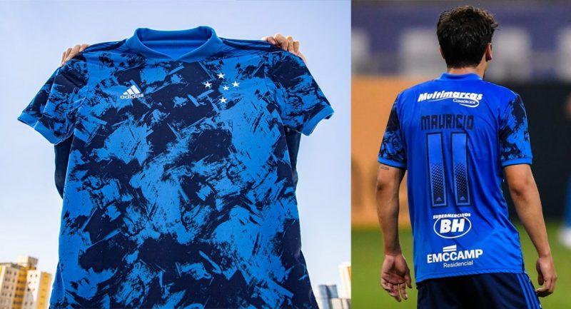 """A nova camisa três do Cruzeiro dividiu opiniões. Segundo o presidente do clube, Sérgio Santos Rodrigues, """"ficou linda"""". O que chamou atenção foram os números praticamente """"invisíveis"""" às costas. E você, torcedor? O que achou? – Foto: Adidas/Cruzeiro/Divulgação"""