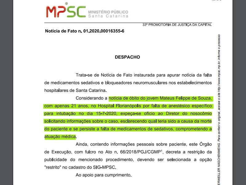 No mesmo dia 24 de julho em que a reportagem obteve os dados do registro público de óbitos o MP instaurou procedimento para investigar a morte – Foto: Reprodução/ND