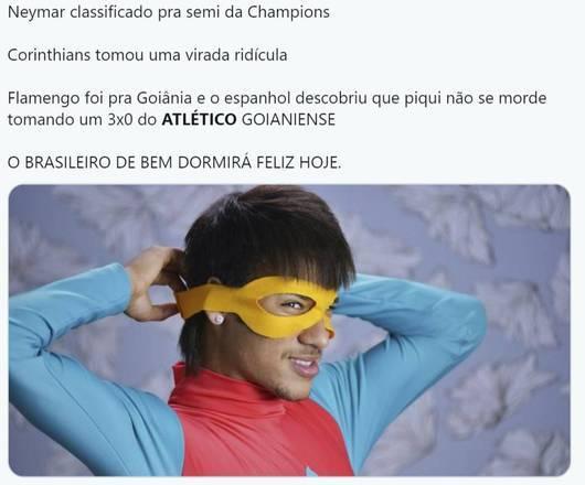 Torcedores zoam derrotas de Flamengo e Corinthians em comparação com a atuação de Neymar na Champions League – Foto: Reprodução/Twitter