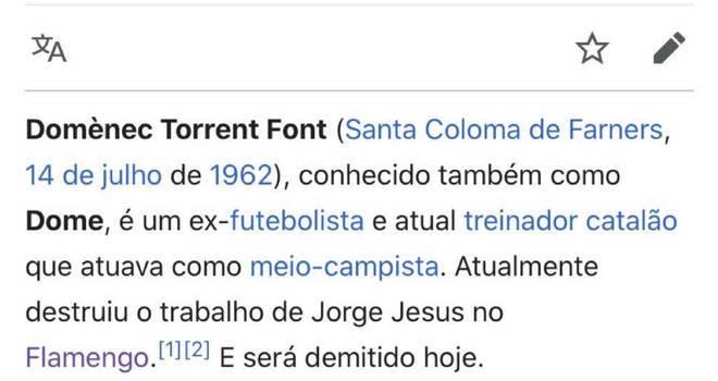 Torcedores do Flamengo comparam o trabalho de Domènec Torrent ao de Jorge Jesus após derrota em Goiânia – Foto: Reprodução/Twitter