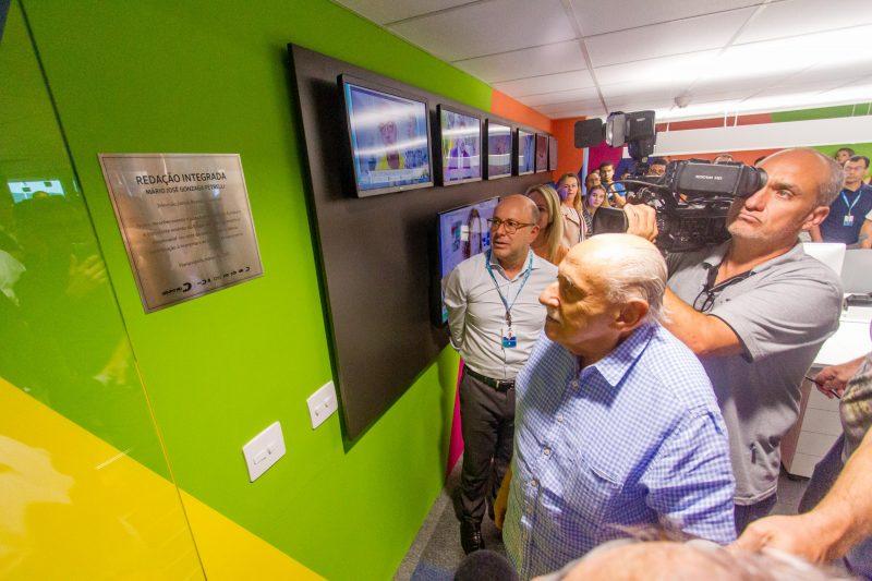 Dr. Mário José Gonzaga Petrelli (em memória) durante a inauguração da redação integrada do Grupo ND, que leva seu nome – Foto: Foto Flavio Tin/arquivo/ND