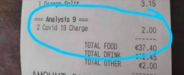 Taxa Covid-19 cobrada em bar na Irlanda – Foto: Reprodução Facebook