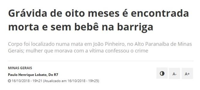 """Crime em <span style=""""font-weight: 400;"""">João Pinheiro aconteceu em 2018 </span>&#8211; Foto: R7/ND"""
