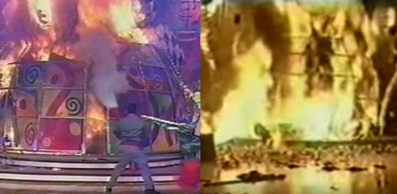 No início do ano, em janeiro, um incêndio tomou conta do cenário do programa da Xuxa durante as gravações, e mais de 20 pessoas ficaram feridas – Foto: Youtube/Reprodução