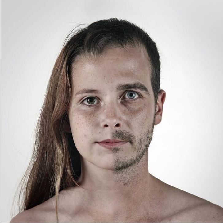 Curiosamente, a junção das fotos parecem rostos normais, e foi isso que impressionou após a divulgação dos retratos.<em> Pai e filha</em> – Foto: Ulric Collette/Divulgação