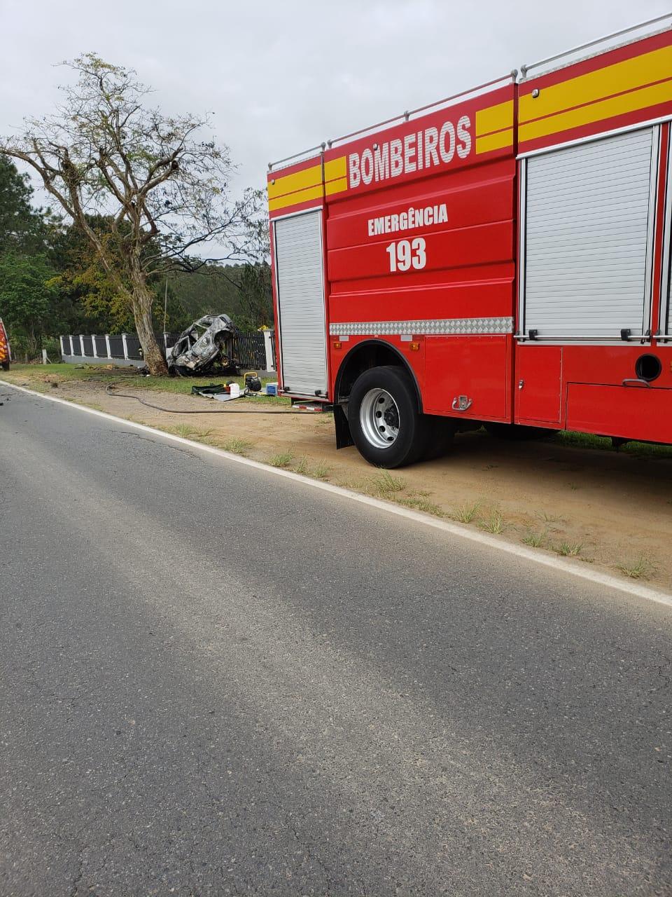 Motorista bate carro em árvore e veículo pega fogo em Timbó - Lara Ferreira/Rádio Cultura Tim